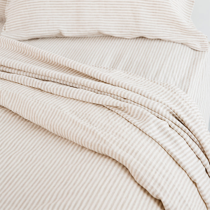 carlotta + gee - fitted sheet - natural stripes
