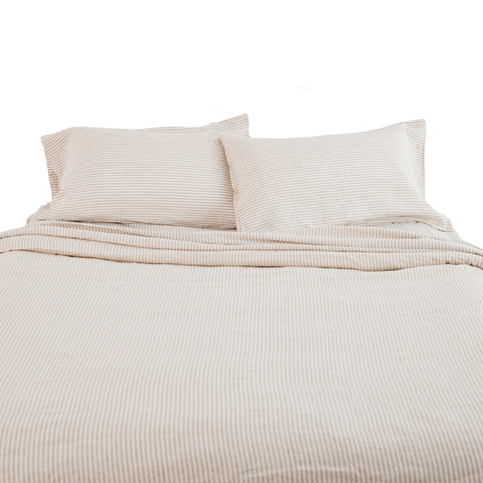 carlotta + gee - duvet cover - natural stripes
