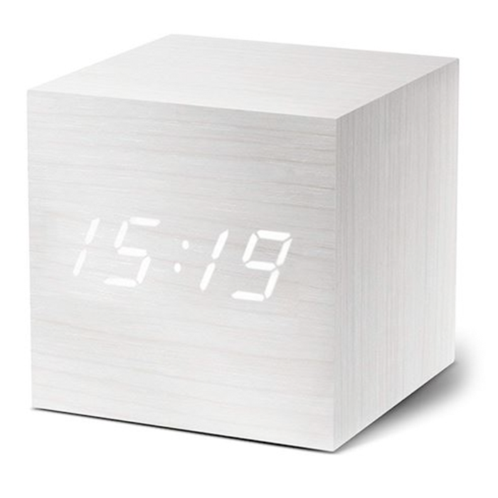 gingko cube click clock - white