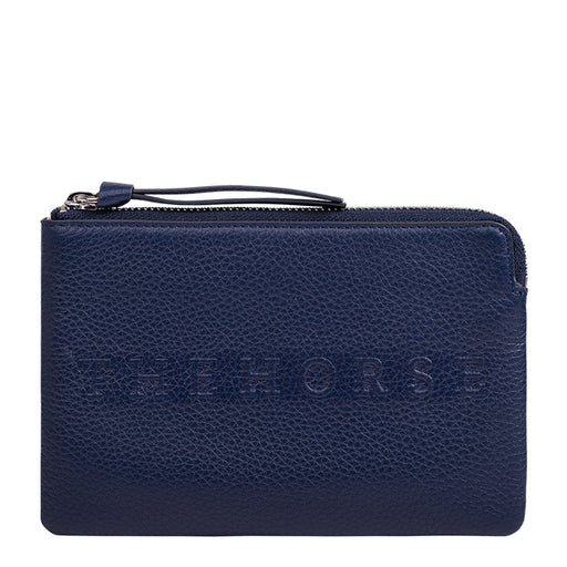 the horse mini zip clutch - navy leather