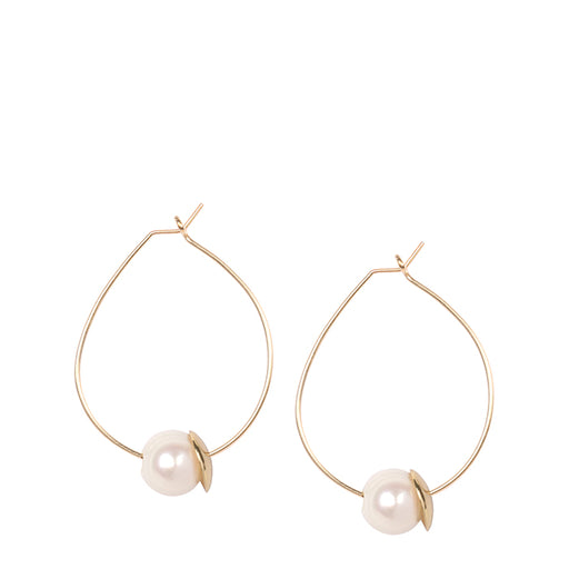 dinosaur designs earring - pearl on gold wire hoop