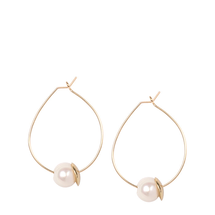 pearl on gold wire hoop earring