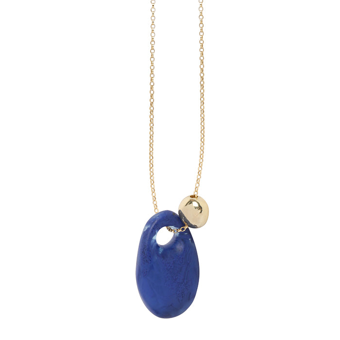 dinosaur designs resin rock pendant on chain - cobalt