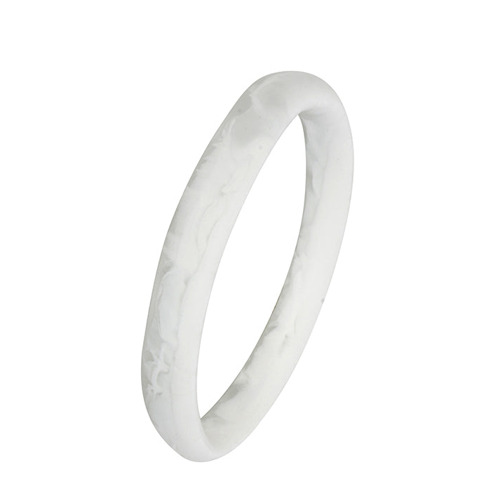 dinosaur designs classic wishbone bangle - white clear swirl