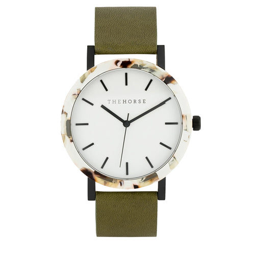 the horse watch mini resin EM7 - nougat shell/white dial/olive leather strap
