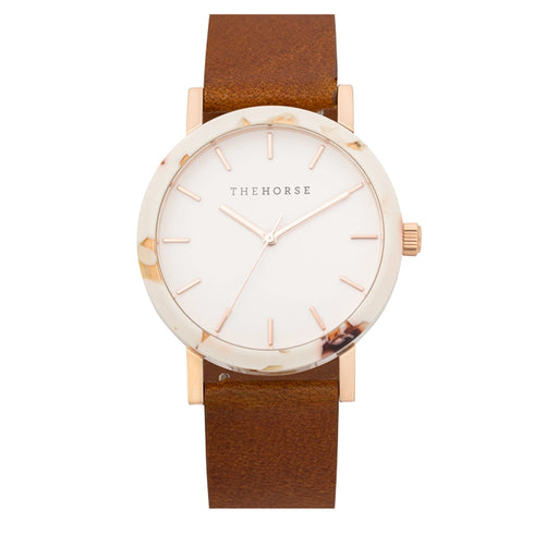 the horse watch mini resin EM8 - nougat shell/white dial/tan leather strap
