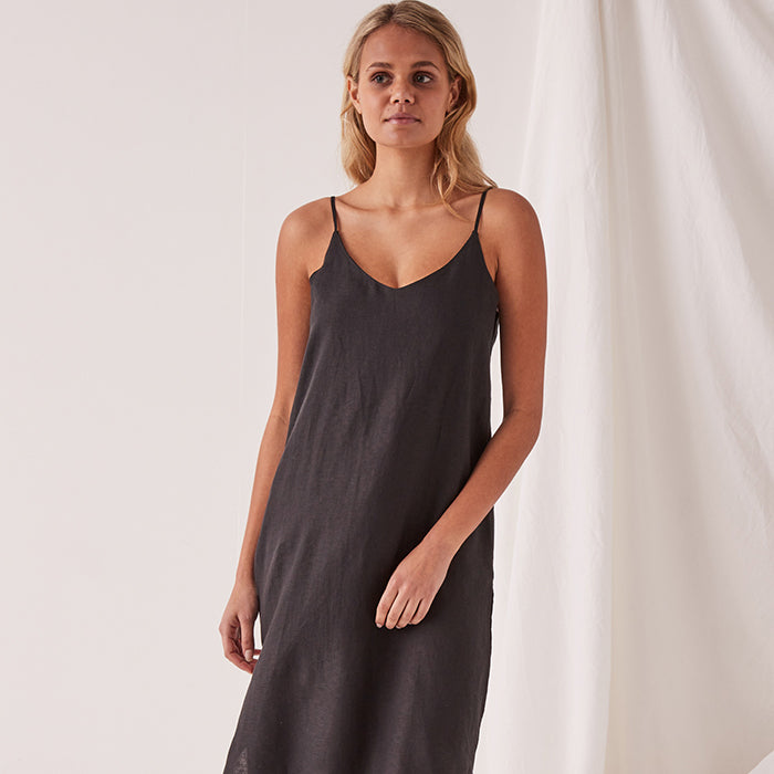 assembly label - linen slip dress - black