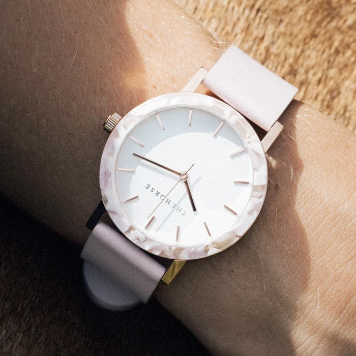 the horse watch mini resin EM5 - pink nougat shell/white dial/pink leather strap