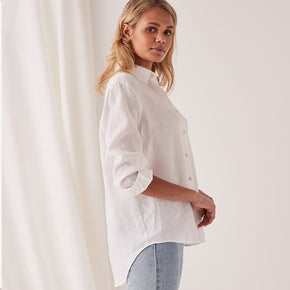assembly label - xander linen shirt - white