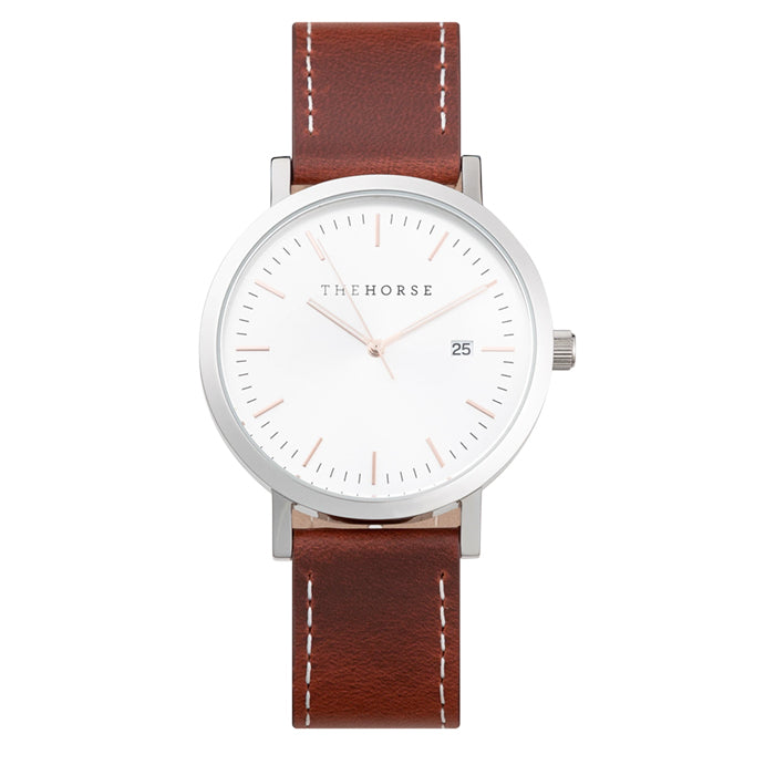 the horse watch A37 - silver case/silver sunray/walnut white stitched strap