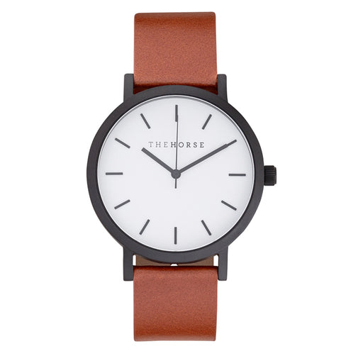 horse watch A9 - matte black/white face/tan leather strap