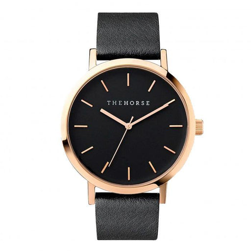 the horse watch A11 - rose gold/black leather