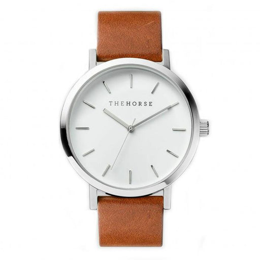 the horse watch A3 - polished steel/tan leather