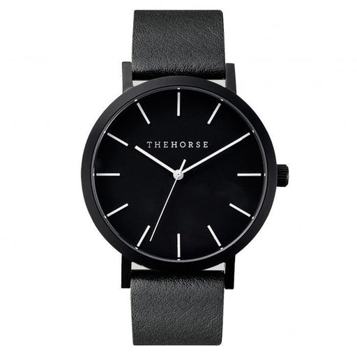 the horse watch A6 - matte black/black leather