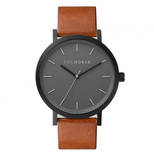 the horse watch A4 - matte black/tan leather