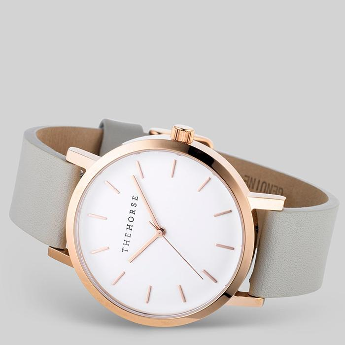 the horse watch A23 - polished rose gold/grey leather