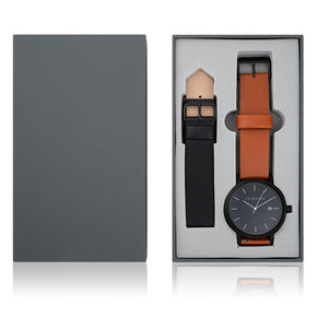 the horse gift set watch A4 - matte black case / tan & black leather band