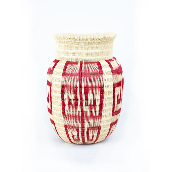 white and red handwoven colombian basket