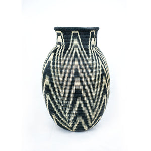 tall black and white basket vase