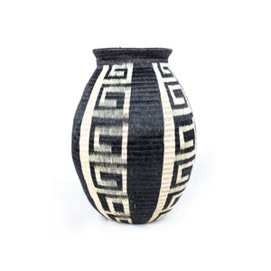black and white werregue basket vase