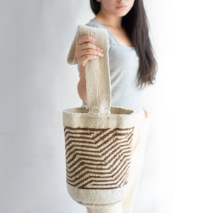 striped wool bucket bag