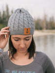 Iron Pine Leather Patch Cable Knit Beanie