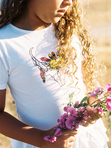 Boho Iron Pine Pronghorn Girls Ruffle Tee