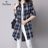 Women Striped Tops Turn-down collar loose Long Blouse.