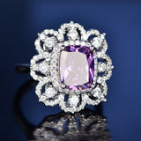 NEW Fashion Real 925 Sterling Silver Gemstone Rings For Women Engagement Fine Jewelry.