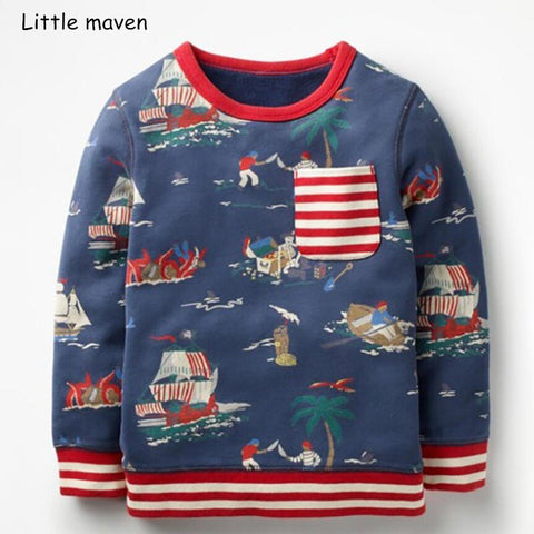 Little maven children brand baby boy clothes 2018 autumn new boys cotton long sleeve boat print t shirt C0108