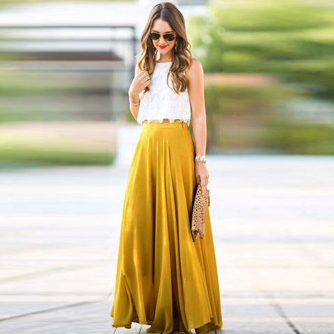 Women Long Maxi Stretch Chiffon High Waist Pleated Boho Skirts.