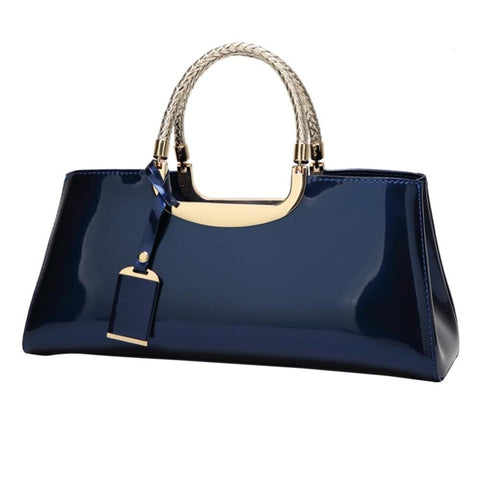 Women Glossy Patent Designer Luxury Clutch Handbag.