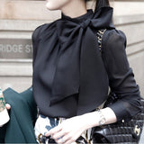 Women Shirts Long Sleeve Solid Elegant Chiffon Blouse