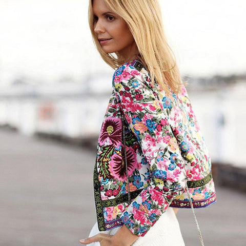Floral Printed Short Outwear Long Sleeve fashion coats and jackets.