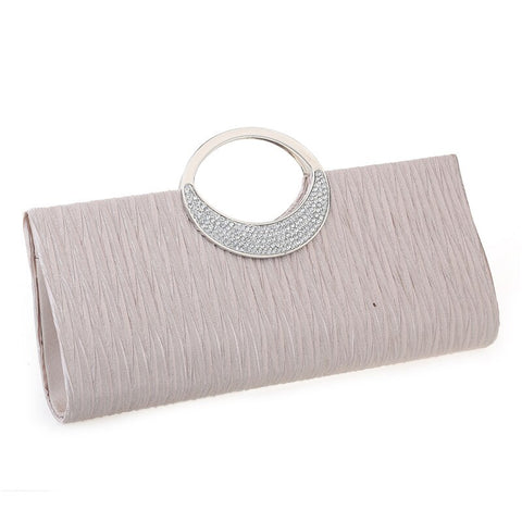 Luxury Evening Clutch Bags Fashion Rhinestone Satin Pleated Women Party Handbag.