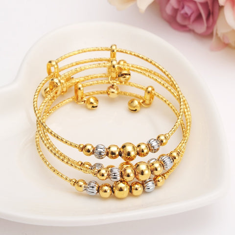 12pcs dubai Charm Bracelet for Women Gold silver beads Bangle cute bell kids girls women Hand Chain Jewelry anklets Arab gift