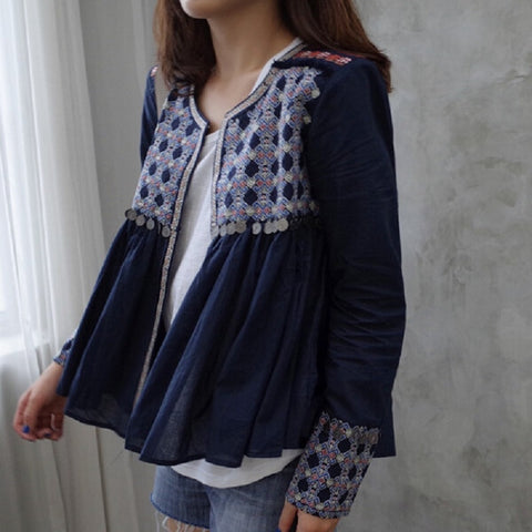 New fashion spring fringe embroidery blouse.