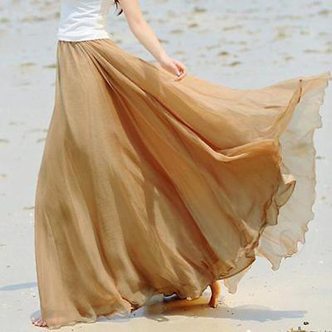 Women Casual Skirt High Waist BOHO Chiffon Long Full Skirt.