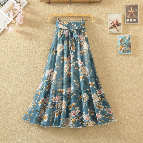Women Fashion Printed Chiffon   Skirts High waist Bohemia Long Skirt.
