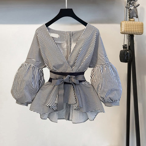 Lantern Sleeve Bow V-neck Striped Shirt Elegant Ladies Tops.