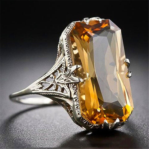Luxury Big Yellow Cubic Zirconia Rings Exaggerate White Gold Vintage Ring.