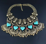 Gypsy Bohemian created artificial stone  statement necklace.