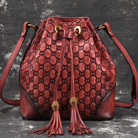 New Retro Real Leather Ladies Designer Luxury Bucket bag.