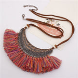 Bohemian Tassel Pendants Necklaces for Women Velvet Chain Choker Necklace.