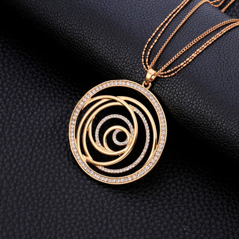 Drilling Round Pendant Maxi Necklace For Women Gifts Elegant Long Necklaces.