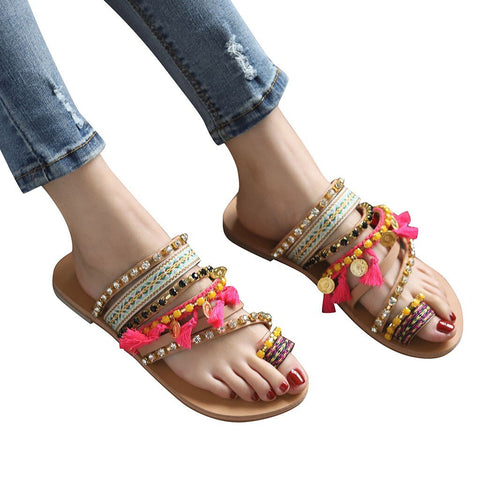2019 Women Slippers Ethnic Style Summer Flat Slippers Beach Sandals Casual Shoes Bohemian Slides Flip Flops