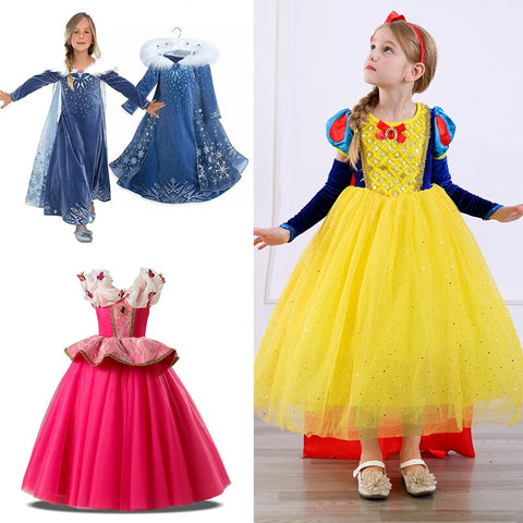 Summer Cinderella Snow White Kids Dresses Carnival Costume.