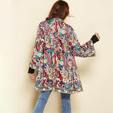 Ethnic Floral Print Jacket 2018 Women Autumn Winter Long Sleeve Side Split Casual Outerwear Ladies Retro Long Cardigan Jacket