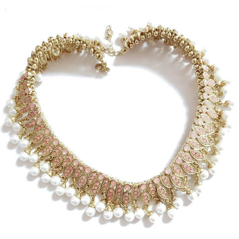 Fashion Jewelry Classic Beads Chain Statement Simulated Pearl Choker Necklace.
