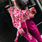 Vintage Heart Print Long Sleeve Chiffon Blouse Sweet Women Shirt Long Tie Streetwear Autumn New Fashion Tops 2019 Chemise Camisa